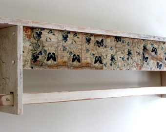 Inventory reduction sale! Shabby Chic hanging quilt rack shelf with Butterfly and Flowers Print Decoupage