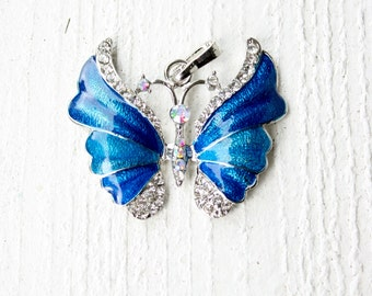Vintage Bright Blue Silver Tone Butterfly Pendant
