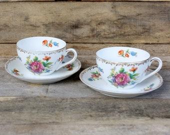 Vintage Pair of Noritake Dresdlina Teacups & Saucers