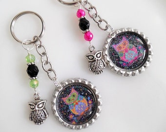 Cute Owl Key Chain Bottle Cap Key Chain