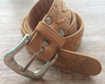 SALE / BELT / Womans tan leather belt / bohemian / gypsy / boho belt / coachella / burning man / festival