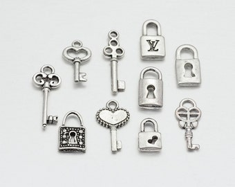 5 Tibetan Silver Key and Lock Charm Sets - Assorted