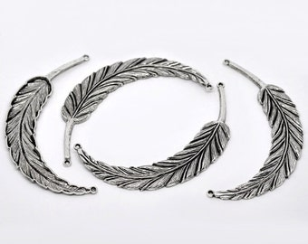 Antiqued Silver Large Feather Connector