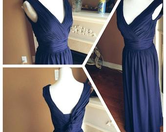 Navy bridesmaid dress, navy long chiffon bridesmaid dress