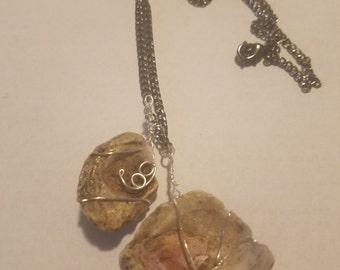Mollusk cluster fossil pendants