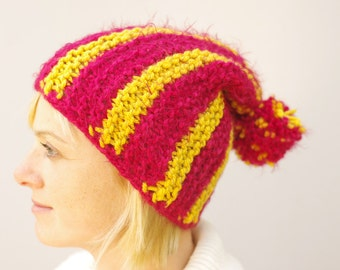 Womens Striped reflective Knitted Hat, Winter hat, Womens  furry Beanie, red pompom hat, slouchy beanie, cupcake hat
