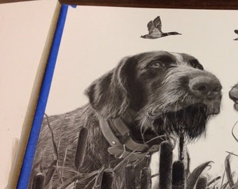 custom dog art: drawing of your hunting dogs with choice of birds 12x16""