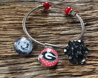 UGA Bulldogs snap charm bracelet set: Georgia Bulldogs charm bracelet