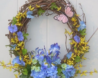 Hydrangea Garden Wreath, Spring Wreath, Forsythia Wreath, Yellow And Blue  Wreath, Gift