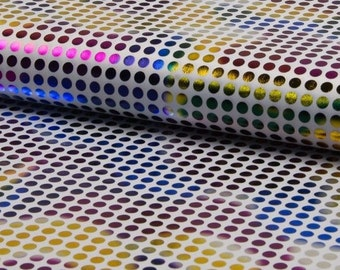 CARNIVAL RAINBOW Fabric - Metallic Polka Dot print material - 150cm wide White