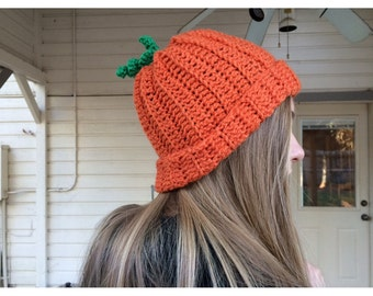 Pumpkin beanie hat, Orange Hat, Beanie, thanksgiving hat, Fall Hat, photo prop - all sizes from Preemie to adult available