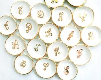 Custom calligraphy monogram handmade ceramic ring dish in white adorned with 22K gold edges