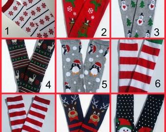 Christmas Leg Warmers, CHOOSE ONE PAIR, Baby Christmas Leggings, Striped Christmas Legwarmers, Red and White Leg Warmers, Christmas Leggings