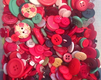 100 grams Buttons, Assorted, Red and Green, Christmas Mix, Button Mix, Haberdashery, Crafts