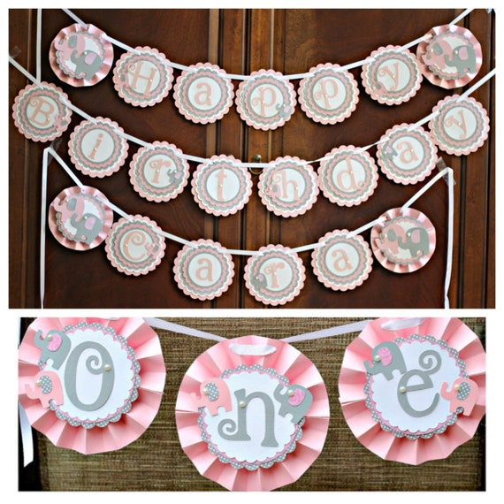 Girl elephant 1st birthday banner package happy for 1st birthday decoration packages