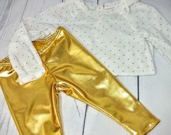 Gold Leggings Baby Leggings Toddler Leggings Girls Leggings Boys Leggings Kids Leggings Gold Leggings