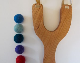 Wooden Slingshot Toy -  handcrafted, all natural, toy, gift