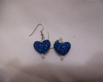 Blue Sparkle Heart Earrings