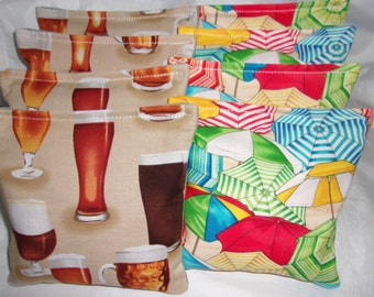 8 ACA Regulation Cornhole Bags -  Beer Mugs and Glasses Print and Tropical Beach Umbrellas