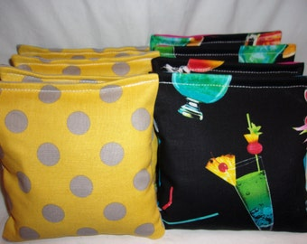 8 ACA Regulation Cornhole Bags - 4 Grey and Yellow Polka Dot & 4 Mixed Cocktails Drinks