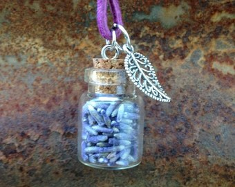 Lavender in a Bottle Necklace