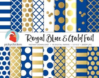 Gold Foil Digital Paper - Royal Blue & Gold, gold dots stripes confetti moroccan trellis faux gold foil photography backdrop 8093