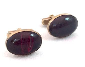 Vintage Swank Cufflinks, Gold Tone and Red Oval Cabochon Cufflinks, Dark Red Cuff Links, Classic Men's Accessories, Modernist Modern Deco