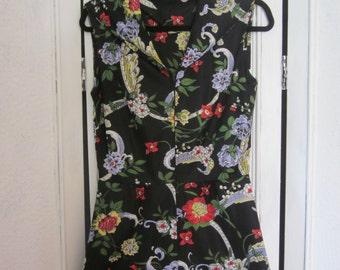 1970s Nylon Jersey Floral Print Jumpsuit, Size S