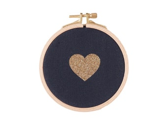 Heart shaped Wall frame - Black and Gold Glitter - Valentine Day - House - Houseware - Decoration - Love - Christmas