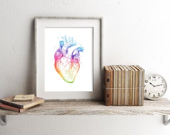 Heart Anatomy Print - Anatomy Art - Watercolor Heart - Medical Office Decor - Heart Art Print - Medical Student Gift - Watercolor Prints