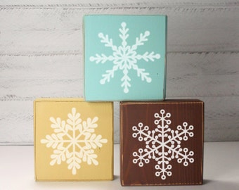 3- Block Snowflakes- Hand Painted Wooden Blocks-Country Decor-Shabby- Farmhouse Decor- Christmas Decor- Winter Decor