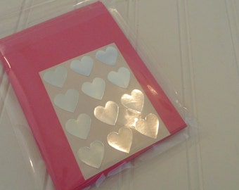 Pink Note Cards And Envelope Set With Heart Stickers