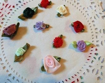 Vintage Ribbon Roses Mini Satin Roses Multicolor