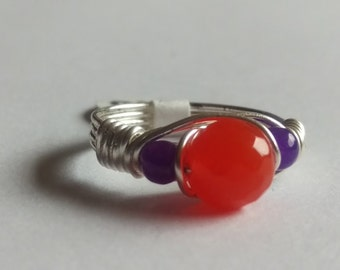 Fire Opal Amethyst Ring