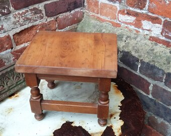 Vintage Stripped Top Stool Occasional Table Hardwood