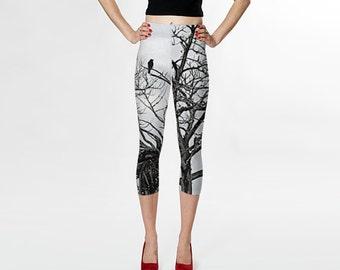 Black and White Capris/ Tree Branch Capri Leggings/The Raven Capris/Gray off White Yoga Capris-Fashion Capris