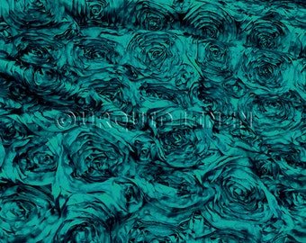 Rose Satin in Jade - Decorative Fabric With A Rose Embroidery Throughout - Best for Weddings, Bridal Parties, and Events