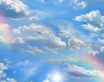 Landscape Medley Blue Sunshine Sky & Rainbow Blender Cotton #6447 By the Yard