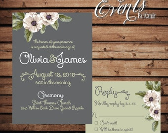 PRINTED Wedding Invitation - anemones 204