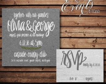 wedding invitations PRINTED - Gray Kraft 89 and rsvp