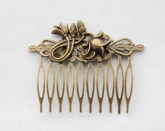 Floral Hair Comb, Wedding Hair Comb, Bridal Hair Comb, Antiqued Gold Flower Hair Comb, Antique Brass Vintage Style Shabby Chic Accessories