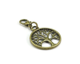 SALE Tree of Life Zipper Pull Purse Charm Bronze Clip On Charms