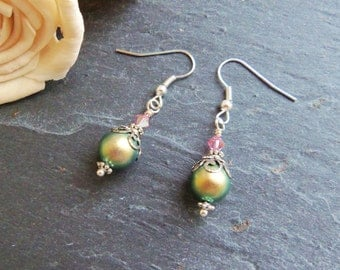 Green and pink Swarovski pearl and crystal drop earrings, sterling silver, pearl earrings, Swarovski Elements, gift for her, surgical steel