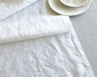 Plain White Linen Table Runner  Handmade Rustic Home Decor  Provence Style  Dining Table Setting