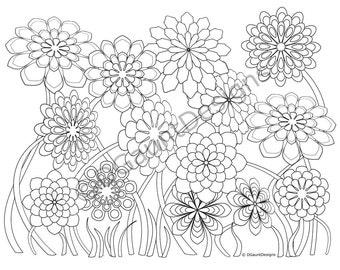Garden coloring page | Etsy