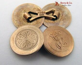 Vintage 10K Yellow Gold Engine Turned Cufflinks 1910