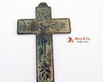 SaLe! sALe! Antique Cross Pendant Crucifix Brass 18th Century