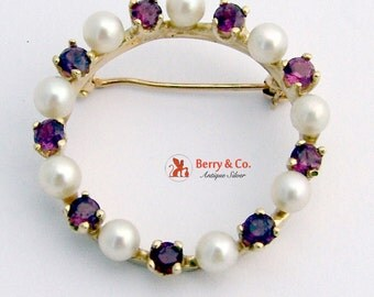 Round Pearl Ruby Brooch 14 K Gold