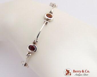 Multi Stone Link Bracelet Sterling Silver
