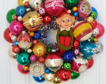 100 Percent Vintage Shiny Brite MercuryGlass Ornament Wreath